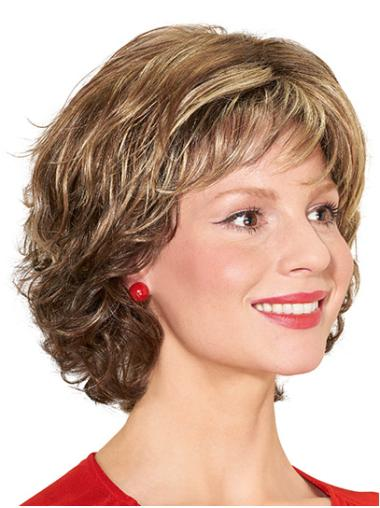 """Curly With Bangs Monofilament 12"""" Blonde Synthetic Wigs For Women"""