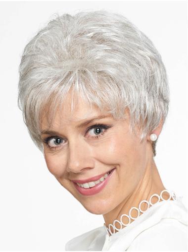 "Short Grey Straight 8"" Grey Wigs"