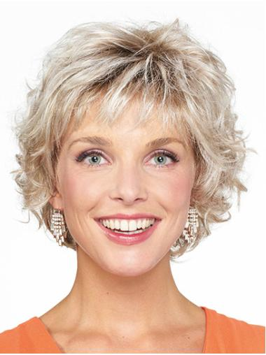 Blonde Curly Chin Length Bobs Monofilament Wigs For Ladies