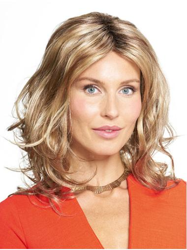 "Shoulder Length Monofilament Blonde Wavy 14"" Synthetic Women Medium Wigs"