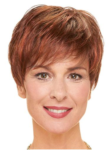 Red Straight Short Layered Cheap Monofilament Wigs