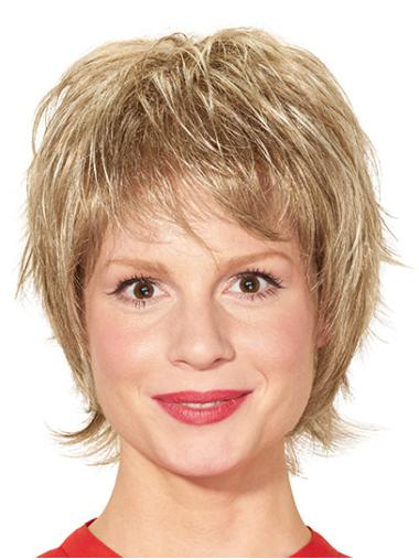 Blonde Straight Short Layered Ready To Wear Monofilament Wigs