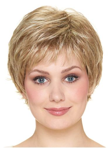 """Wavy With Bangs Capless 8"""" Blonde Synthetic Wigs"""