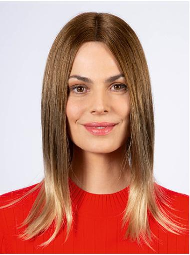 """Shoulder Length Monofilament Ombre/2 Tone Straight 14"""" Synthetic Medium Wig"""