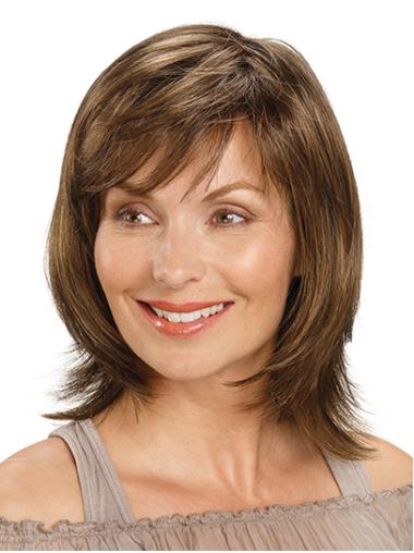 "Shoulder Length Monofilament Brown Straight 14"" Synthetic Medium Length Wigs For Women"