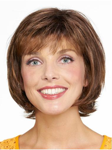"Chin Length Capless Brown Straight 10"" Synthetic Medium Wigs For Women"