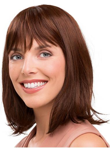 "Shoulder Length Capless Auburn Straight 14"" Synthetic Medium Length Wig"