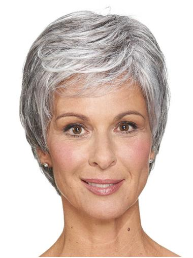 "Short Grey Straight 8"" Women Cheap Classic Wig"