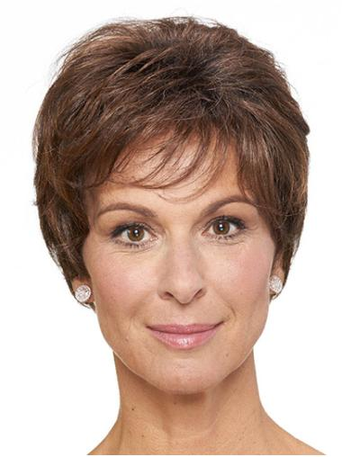 """Short Brown Straight 8"""" Classic Wig On Sale"""