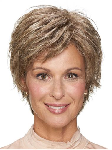 "8"" Wavy Monofilament Synthetic Layered Short Wigs"