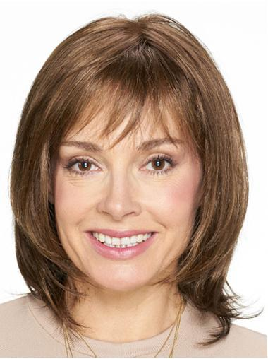 """Shoulder Length Monofilament Brown Straight 14"""" Synthetic Womans Wigs Medium"""