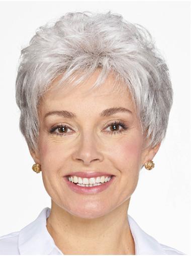 "Short Grey Wavy 8"" Women Classic Wig"
