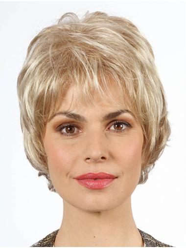 """Wavy Chin Length Platinum Blonde 10"""" With Bangs Synthetic Mono Wig"""