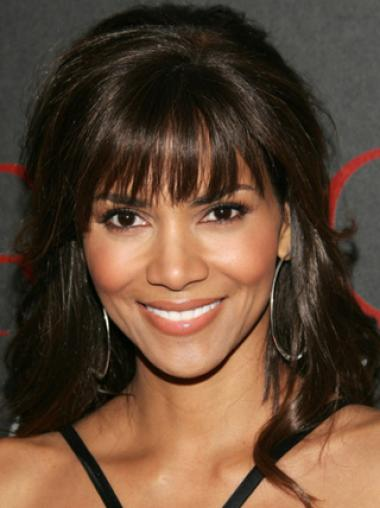 Halle Berry 100% Indian Human Remy Hair Long Layered Wavy Glueless Lace Wig with Charming Bangs