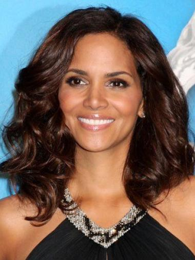 Halle Berry Amazing and Ultra-feminine Mid-length Layered Wavy Lace Front Human Hair Wig 14 Inches