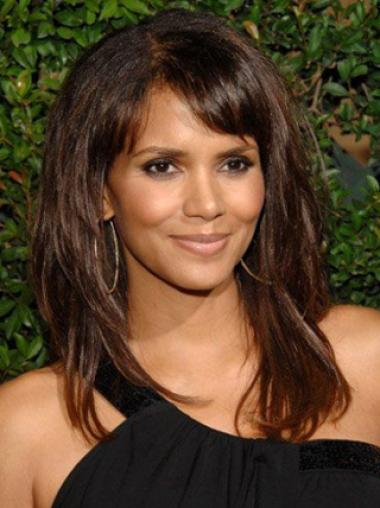 Halle Berry Good-looking Long Straight Layered Lace Front Wig 16 Inches with Polished Bangs