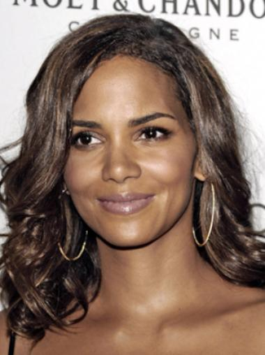 Halle Berry Pretty Glamorous Long Layered Body-wave Style Lace Human Hair Wig 18 Inches