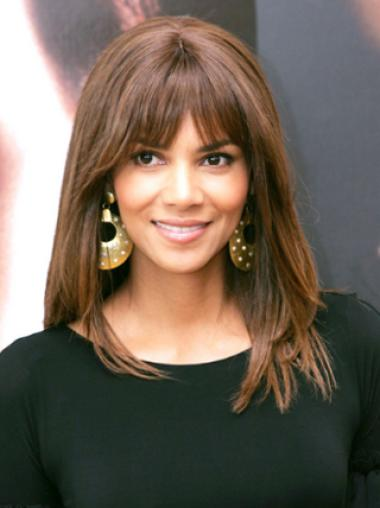 Halle Berry Comely Shoulder-length Straight Lace Human Hair Wig 14 Inches with Bangs