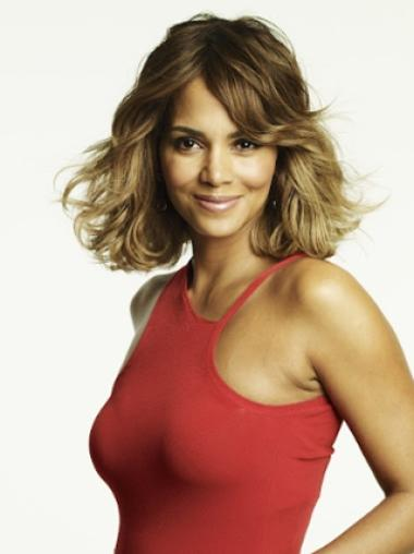 Halle Berry Sexy Mid-length Layered Wavy Glueless Lace Front Human Hair Wig 12 Inches