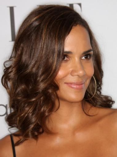 Halle Berry Sensational Mid-length Body Wavy Style Lace Front Human Hair Wig 14 inches