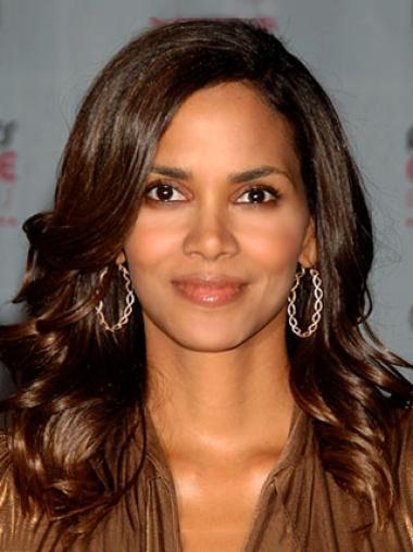 Halle Berry Long Bouncy Body-wave Style Glueless Lace Front Human Hair Wig 16 Inches