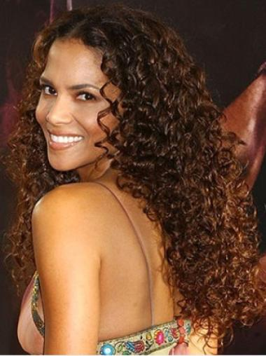 Halle Berry Sultry Long Curly Lace Front Human Hair Wig 24 inches
