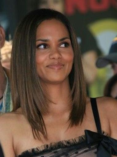 Halle Berry Gorgeous and Exquisite Mid-length Straight Layered Glueless Lace Front Human Hair Wig 14 Inches