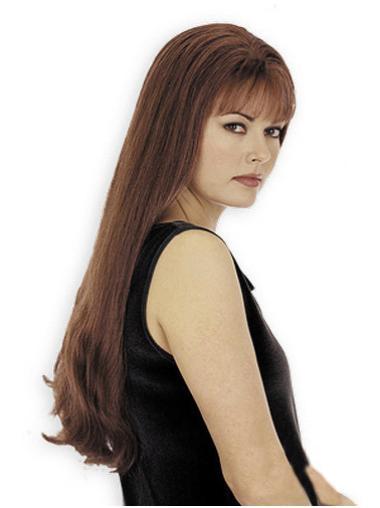 Perfect Auburn Straight Long Human Hair Wigs
