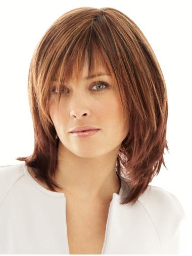 Comfortable Monofilament Shoulder Length Synthetic Wigs