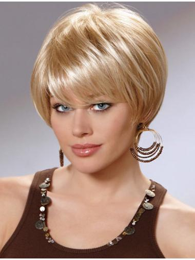 Preferential Blonde Straight Chin Length Synthetic Wigs