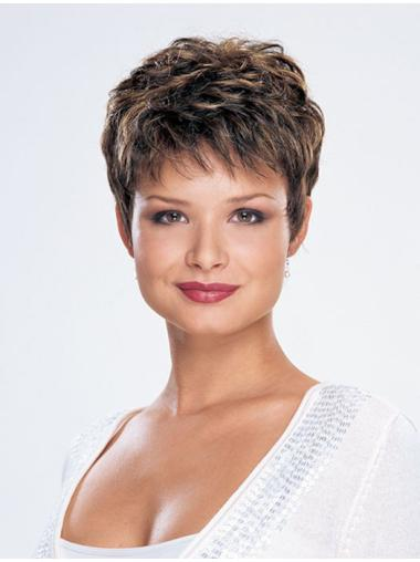 Fashion Monofilament Straight Cropped Synthetic Wigs