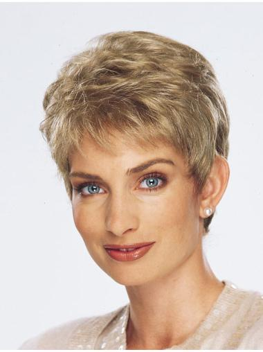 Easy Blonde Monofilament Cropped Synthetic Wigs