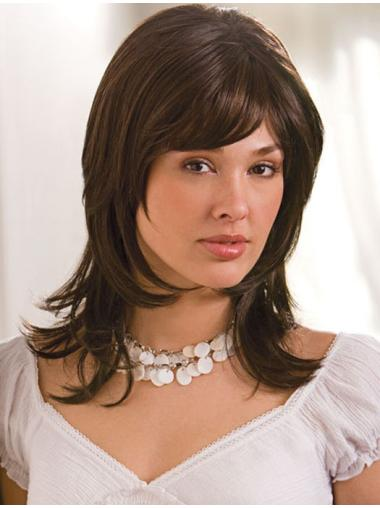 Fashionable Monofilament Layered Shoulder Length Synthetic Wigs