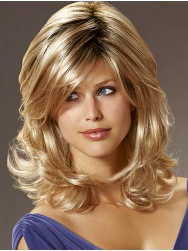 Pleasing Blonde Wavy Shoulder Length Synthetic Wigs