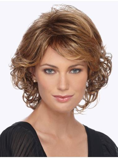 Popular Blonde Curly Chin Length Synthetic Wigs