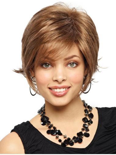 Pleasing Auburn Straight Chin Length Synthetic Wigs