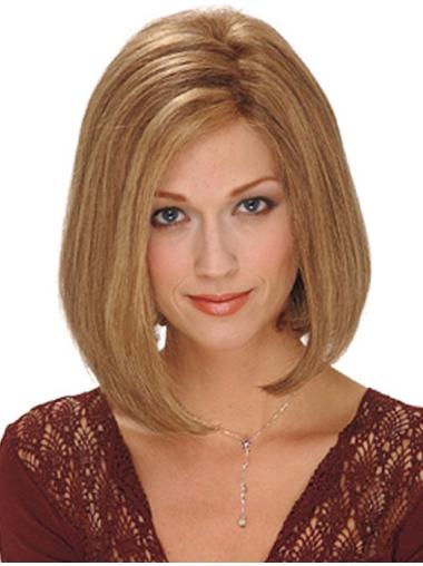 Sleek Blonde Bobs Chin Length Synthetic Wigs