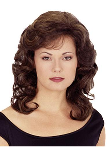 Polite Brown Wavy Shoulder Length Synthetic Wigs