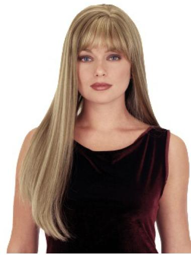 Stylish Blonde Straight Long Synthetic Wigs