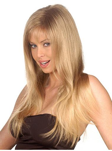 Soft Blonde Straight Long Synthetic Wigs