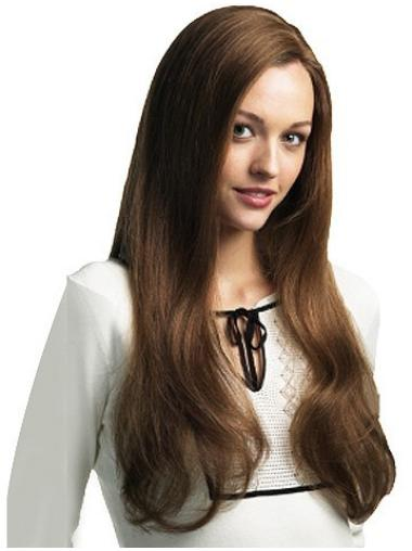 Mature Brown Straight Long Lace Wigs