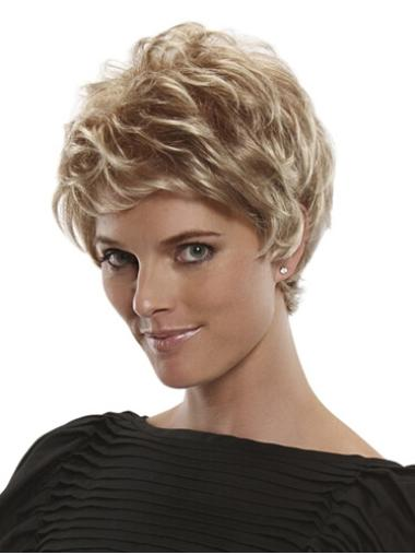 Trendy Blonde Straight Short Lace Wigs