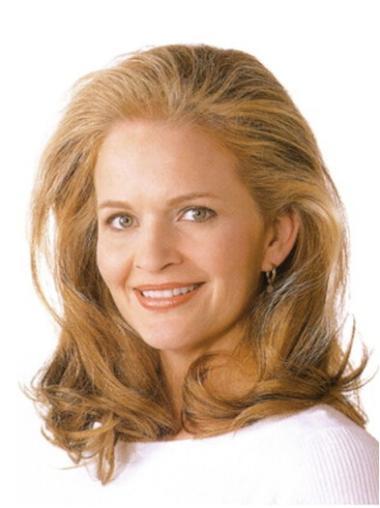 Pleasing Blonde Wavy Shoulder Length Lace Wigs