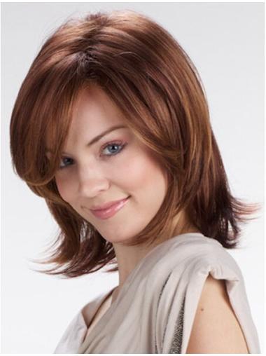 Convenient Auburn Straight Shoulder Length Lace Front Wigs