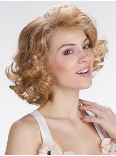 Popular Blonde Curly Chin Length Lace Front Wigs