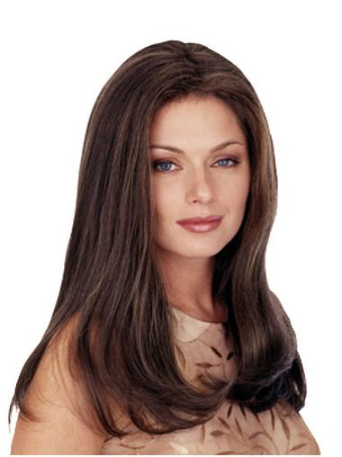 Radiant Brown Straight Long Monofilament Wigs