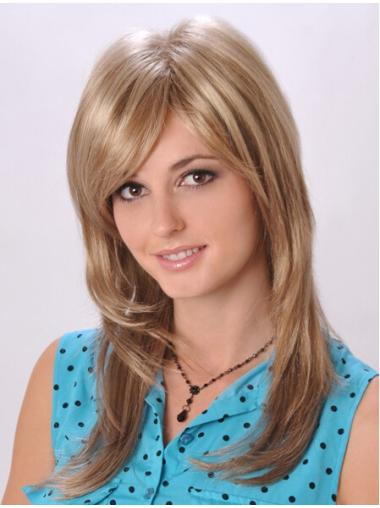 Graceful Blonde Straight Long Monofilament Wigs