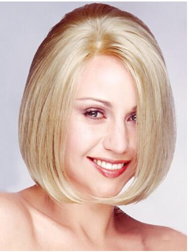 Hairstyles Blonde Straight Chin Length Monofilament Wigs