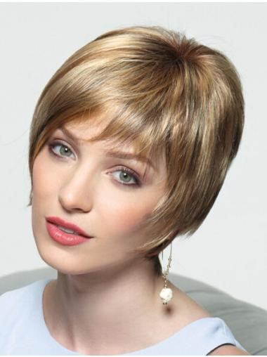 Style Blonde Straight Short Monofilament Wigs