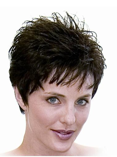 Good Black Straight Cropped Monofilament Wigs